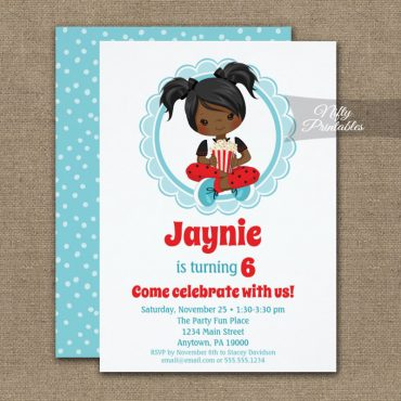 Movie Night African American Girls Birthday Invitation PRINTED