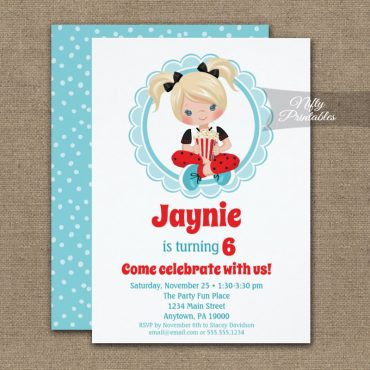 Movie Night Blonde Hair Girls Birthday Invitation PRINTED
