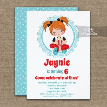 Movie Night Red Hair Girls Birthday Invitation PRINTED