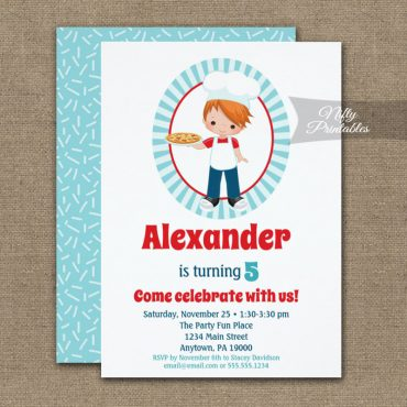 Red Haired Boy Pizza Party Birthday Invitation PRINTED