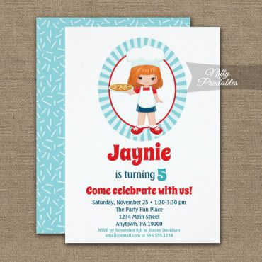 Red Hair Girl Pizza Party Birthday Invitation PRINTED