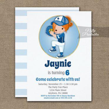 Redhead Girls Blue Softball Birthday Invitation PRINTED