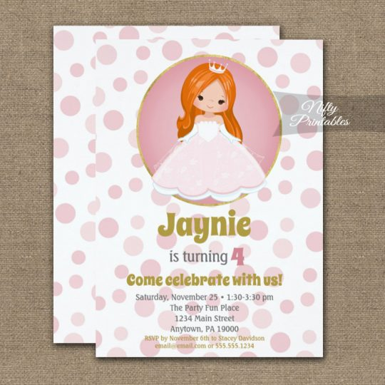 Redhead Pink Princess Girls Birthday Invitations PRINTED