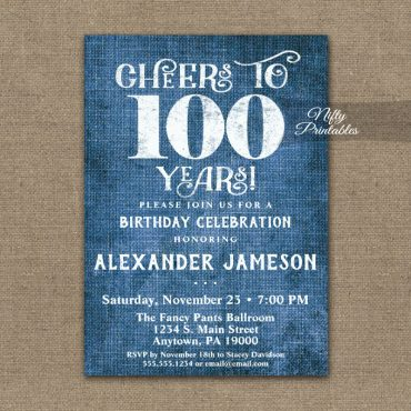 100th Birthday Invitations Blue Linen Rustic Cheers PRINTED