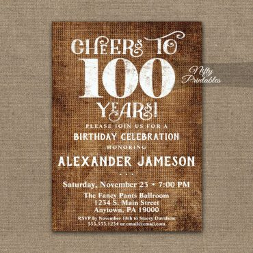 100th Birthday Invitations Brown Linen Rustic Cheers PRINTED