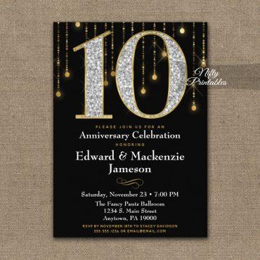 10th Anniversary Invitations Black Gold Diamonds PRINTED