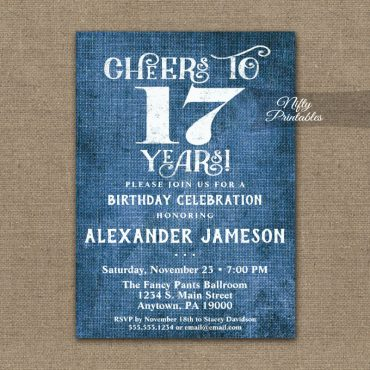 17th Birthday Invitations Blue Linen Rustic Cheers PRINTED
