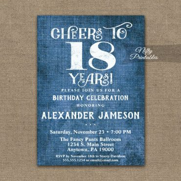 18th Birthday Invitations Blue Linen Rustic Cheers PRINTED
