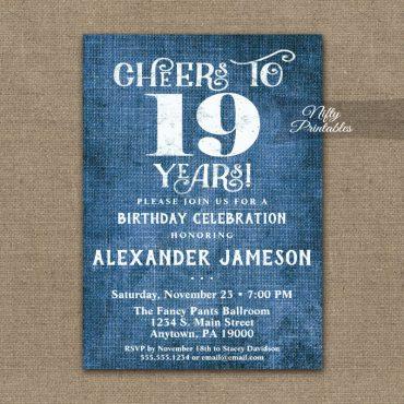 19th Birthday Invitations Blue Linen Rustic Cheers PRINTED