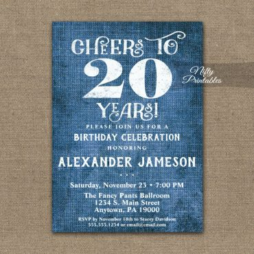 20th Birthday Invitations Blue Linen Rustic Cheers PRINTED