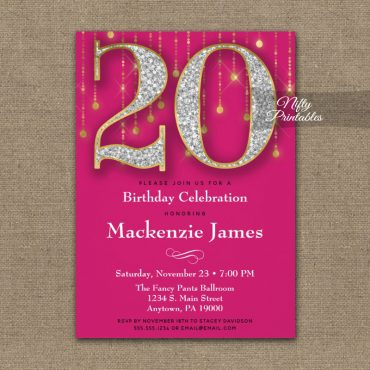 20th Birthday Invitations Pink Gold Diamonds Adult PRINTED