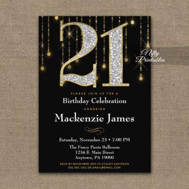 21st Birthday Invitations Black Gold Diamonds Adult PRINTED