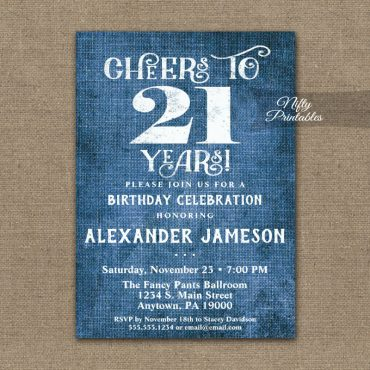 21st Birthday Invitations Blue Linen Rustic Cheers PRINTED
