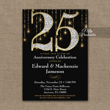 25th Anniversary Invitations Black Gold Diamonds PRINTED