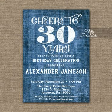 30th Birthday Invitations Blue Linen Rustic Cheers PRINTED