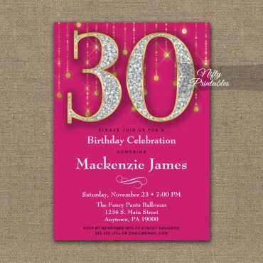 30th Birthday Invitation Pink Gold Diamonds Adult PRINTED
