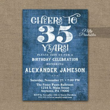 35th Birthday Invitations Blue Linen Rustic Cheers PRINTED