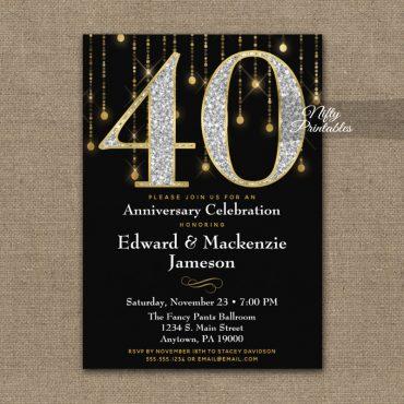 40th Anniversary Invitation Black Gold Diamonds PRINTED