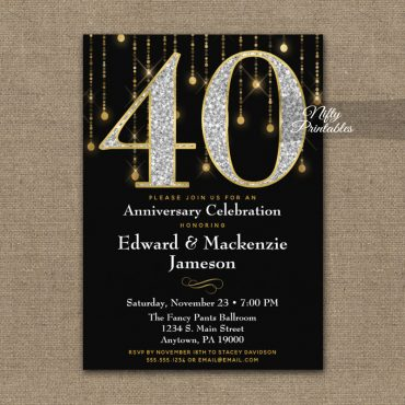 40th Anniversary Invitations Black Gold Diamonds PRINTED