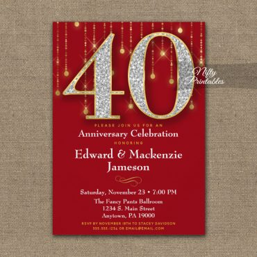 40th Anniversary Invitation Red Gold Diamonds PRINTED