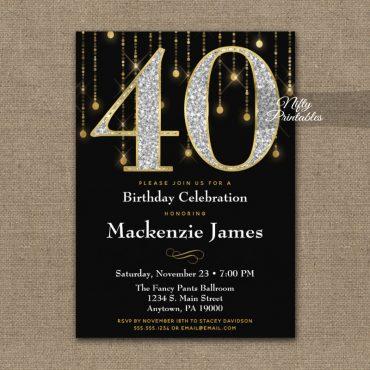 40th Birthday Invitations Black Gold Diamonds Adult PRINTED