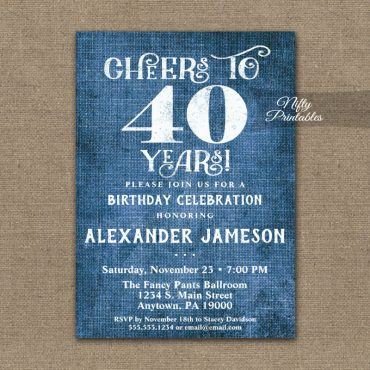 40th Birthday Invitations Blue Linen Rustic Cheers PRINTED