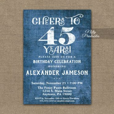 45th Birthday Invitations Blue Linen Rustic Cheers PRINTED