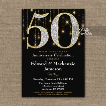 50th Anniversary Invitations Black Gold Diamonds PRINTED