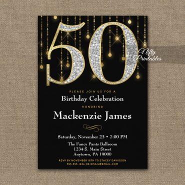 50th Birthday Invitation Black Gold Diamonds Adult PRINTED