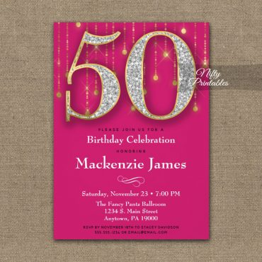 50th Birthday Invitation Pink Gold Diamonds Adult PRINTED