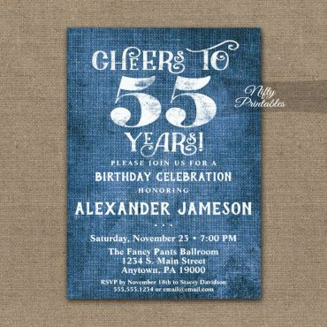 55th Birthday Invitation Blue Linen Rustic Cheers PRINTED