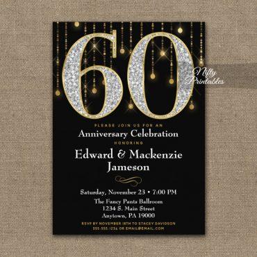 60th Anniversary Invitation Black Gold Diamonds PRINTED