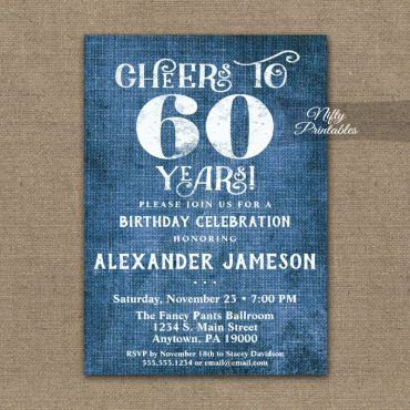 60th Birthday Invitation Blue Linen Rustic Cheers PRINTED