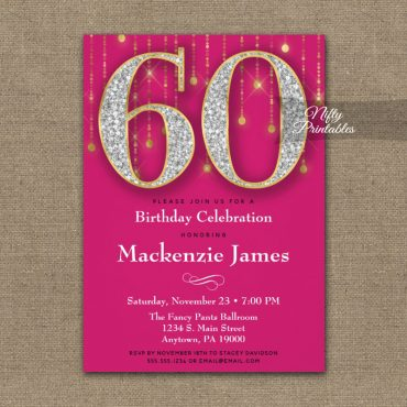 60th Birthday Invitation Pink Gold Diamonds Adult PRINTED