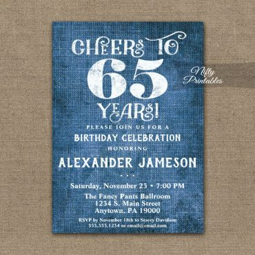 65th Birthday Invitation Blue Linen Rustic Cheers PRINTED