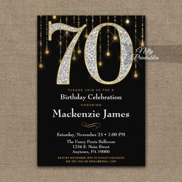 70th Birthday Invitations Black Gold Diamonds Adult PRINTED
