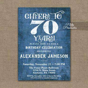 70th Birthday Invitations Blue Linen Rustic Cheers PRINTED