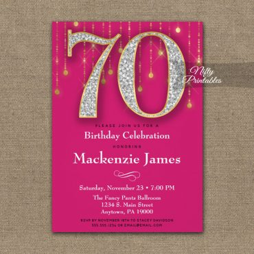 70th Birthday Invitations Pink Gold Diamonds Adult PRINTED