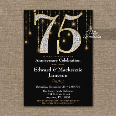 75th Anniversary Invitations Black Gold Diamonds PRINTED