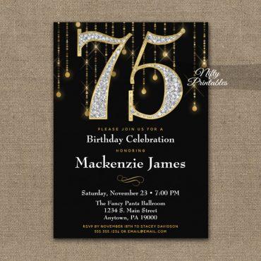 75th Birthday Invitation Black Gold Diamonds Adult PRINTED