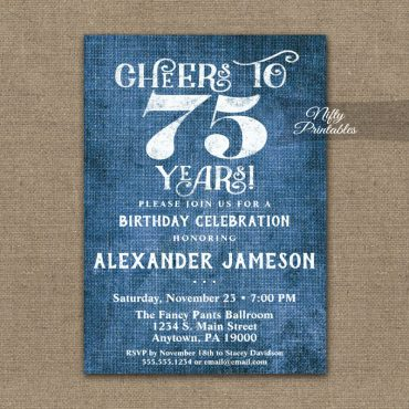 75th Birthday Invitation Blue Linen Rustic Cheers PRINTED