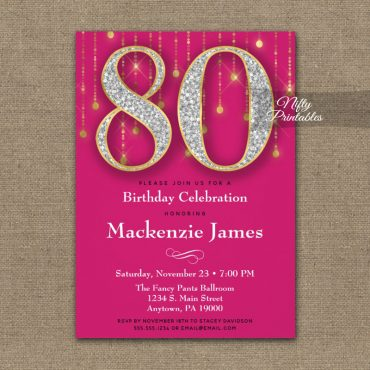 80th Birthday Invitation Pink Gold Diamonds Adult PRINTED
