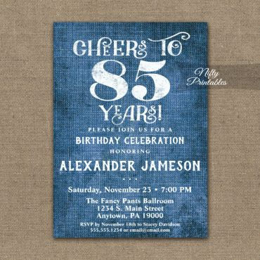85th Birthday Invitation Blue Linen Rustic Cheers PRINTED
