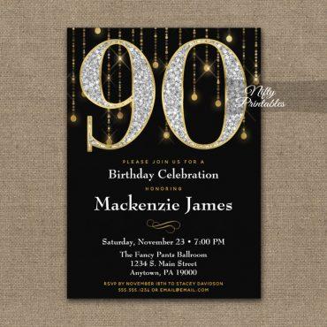 90th Birthday Invitations Black Gold Diamonds Adult PRINTED