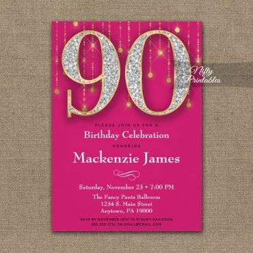 90th Birthday Invitations Pink Gold Diamonds Adult PRINTED