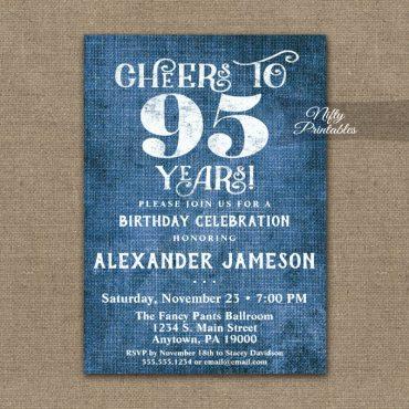 95th Birthday Invitations Blue Linen Rustic Cheers PRINTED