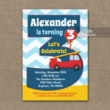 Boys 3rd Birthday Invitations Fire Truck PRINTED