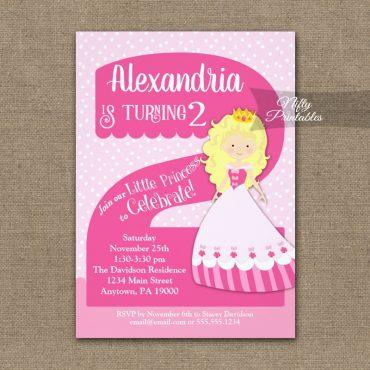 Princess 2nd Birthday Invitations Blonde Girl PRINTED