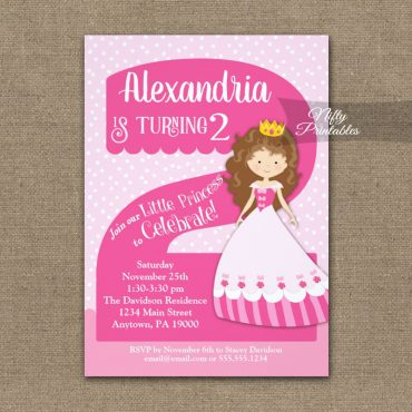Princess 2nd Birthday Invitations Brunette Girl PRINTED