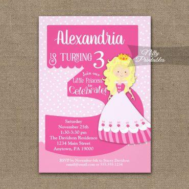 Princess 3rd Birthday Invitations Blonde Girl PRINTED